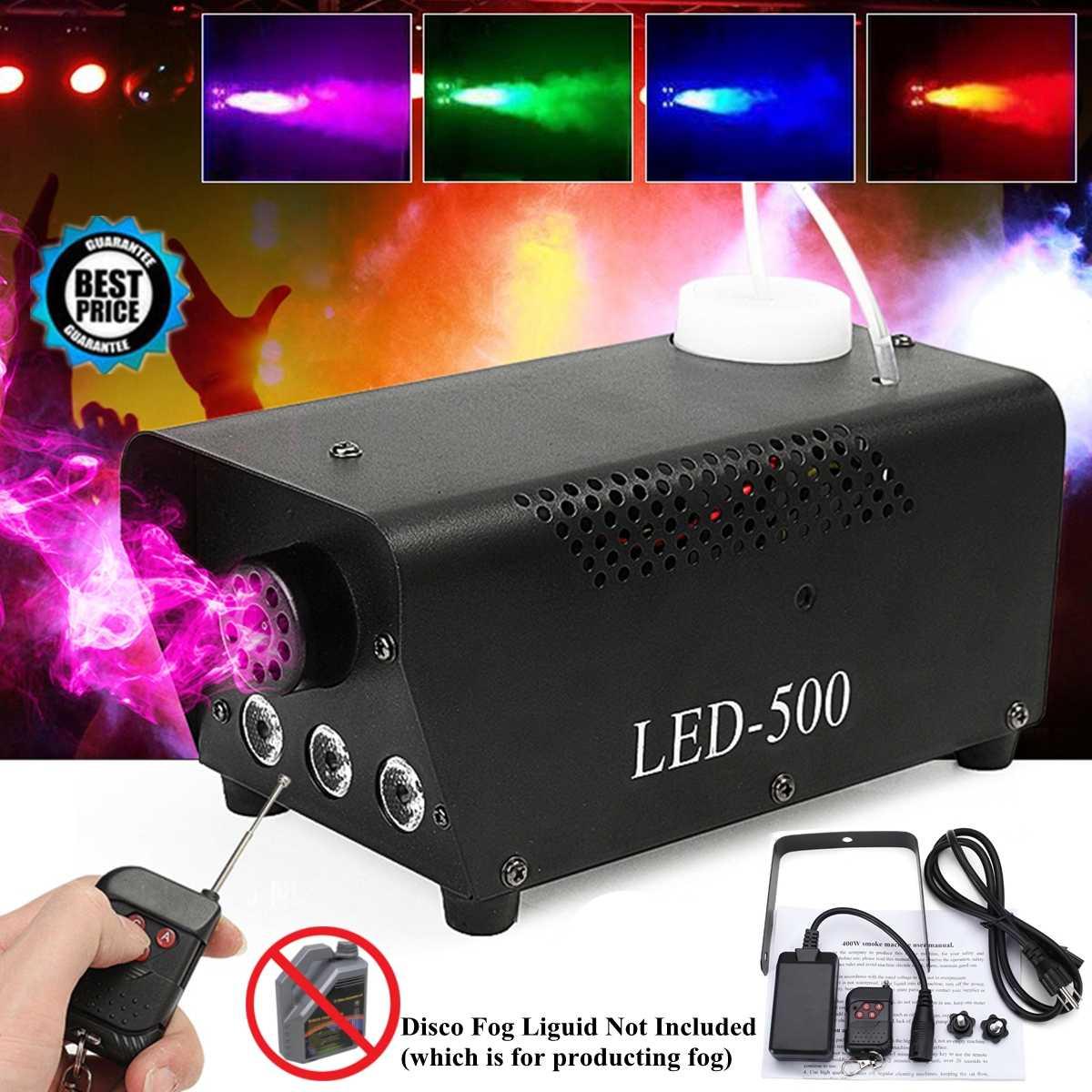500W disco coloré fumée machine mini LED à distance brumisateur éjecteur dj noël fête scène lumière brouillard machine avec télécommande