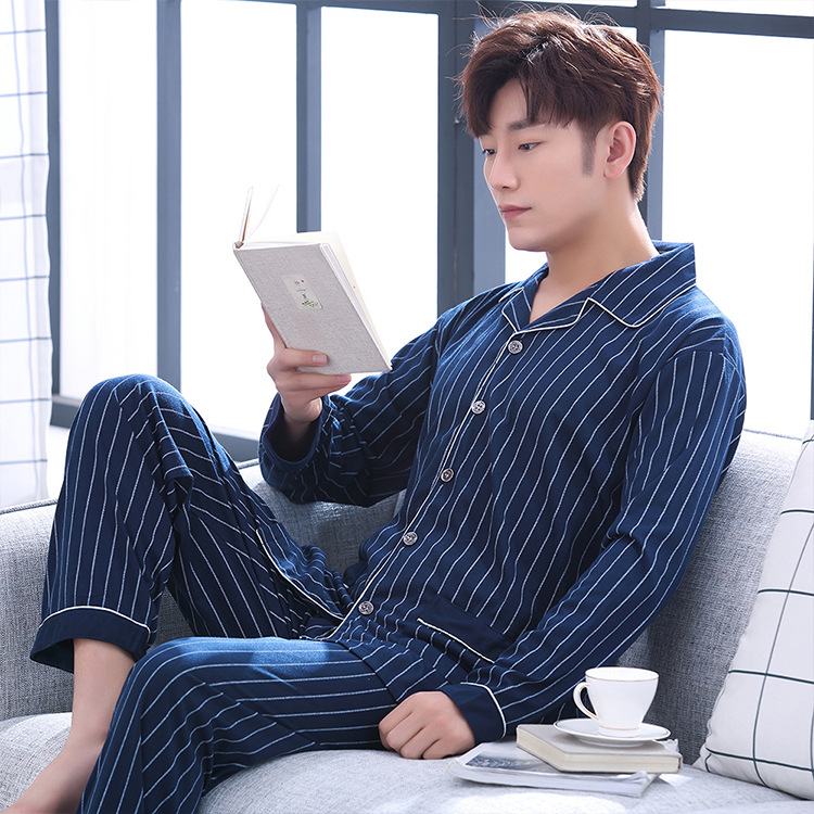 Pajamas Set Men Long Sleeve Stripes Spring Autumn Casual Homewear Pijamas Big Size Sleepwear Sets For Male 200LB 95kg Blue Gray