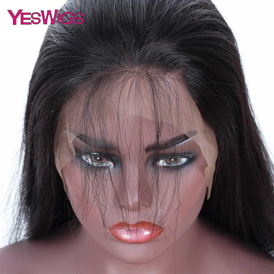 YesWigs полностью кружевные человеческие волосы парики с детскими волосами Remy бразильские прямые отбеленные узлы полностью кружевные парики
