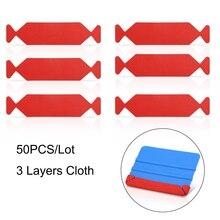 "FOSHIO 50pcs Carbon Fiber Squeegee 3 Layers Waterproof Fabric Cloth for Vinyl Car Wrap Window Tint 4"" 10cm Scraper Protect Edge"