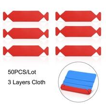"""Foshio 50pcs 탄소 섬유 스퀴지 3 레이어 방수 패브릭 천으로 비닐 자동차 랩 창 색조 4 """"10 cm 스크레이퍼 보호 가장자리"""