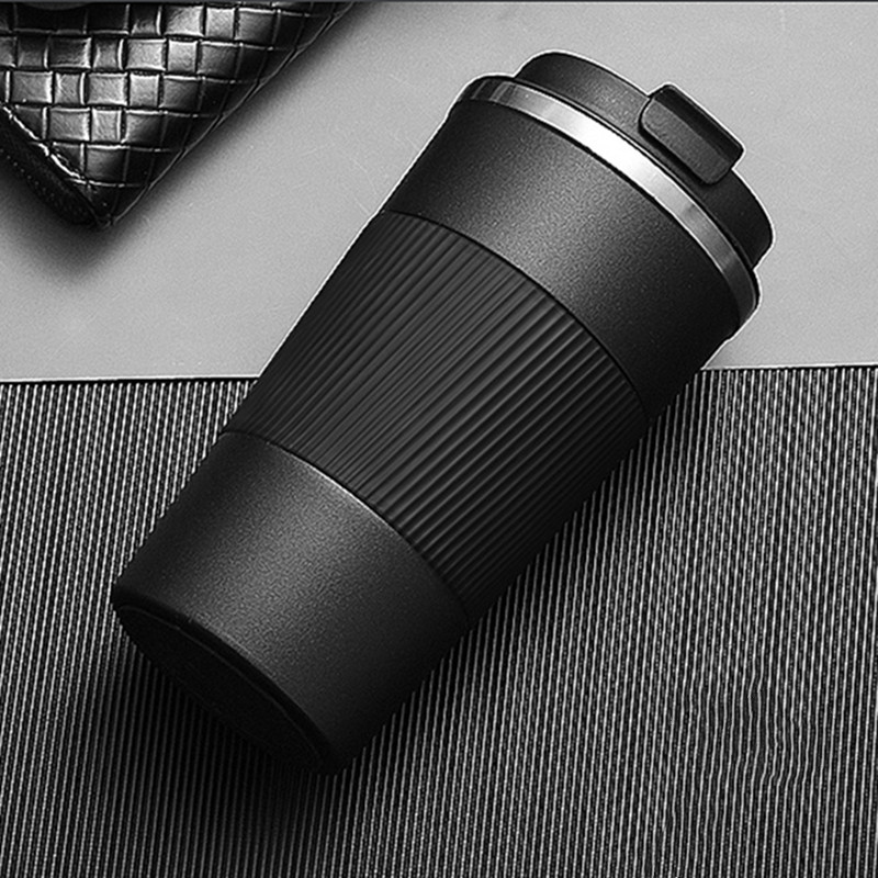 Tasse de Thermos de café dacier inoxydable de 380ml/510ml Double avec la bouteille isolée par voyage de fiole de vide de voiture de caisse antidérapante