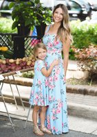 2019 Matching Outfits Mother and Daughter Clothes Summer Family Look Mom and Baby Floral Dresses Mother & Daughter Baby Girl