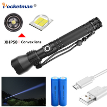 New Super Bright Flashlight XHP50 Waterproof Zoomable LED Lamp Powerful Rechargeable Light Torch with 18650 Battery jiguoor super bright led flashlight ipx 8 waterproof q8 4x xp l 5000lm powerful professional multiple operation procedure 18650