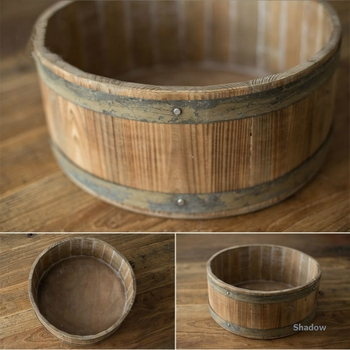 Newborn Photography Props Retro Wooden Basin Infantil Photo Shoot Accessories Baby Posing Props Natural Color Nice Photo Props