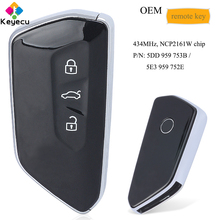 KEYECU OEM الذكية مفتاح السيارة عن بعد 3 زر 434MHz NCP2161W رقاقة فوب لفولكس واجن سكودا 2020 P/N: 5DD 959 753B ، 5E3 959 752E