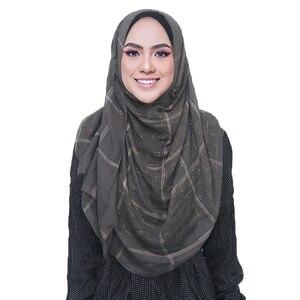 Image 2 - 1 pc novo diamante lenço de algodão macio hijab cachecol xale brilhante envoltório viscose muçulmano feminino lenço islâmico hijab xales e envoltório