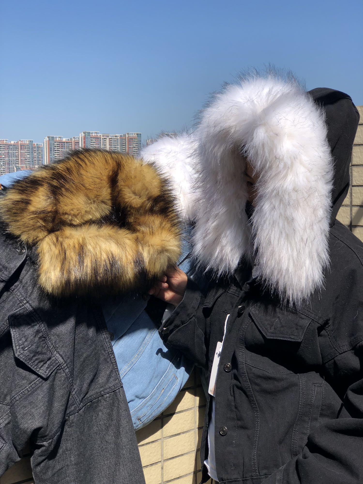 Hba0670433ca04a00bc45089acb9cd363W LUZUZI 2019 New Warm Winter Bomber Women Winter Autumn Hooded Girls Coat Jeans Denim Jackets Basic Ladies Top Windbreaker Female