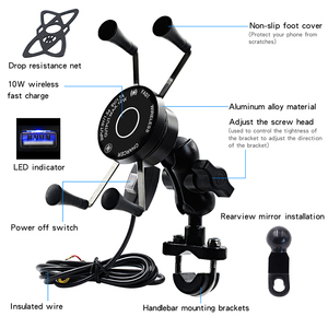 Image 1 - Wireless Motorcycle Bike Mobile Phone Holder With USB Charger Waterproof QC3.0 Fast Charging Bracket Support Moto Phone Holder