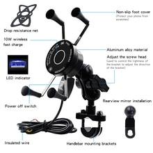 Wireless Motorrad Fahrrad Handy Halter Mit USB Ladegerät Wasserdichte QC3.0 Schnelle Lade Halterung Unterstützung Moto Telefon Halter