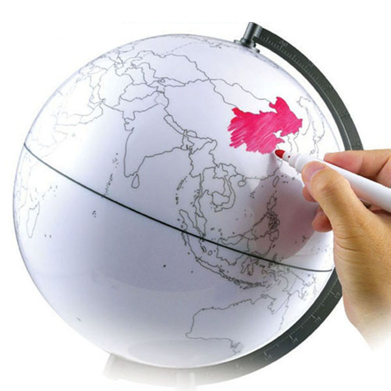 Paintable and Erasable Globe Model Plastic Erasing World Map Drawing Tellurian DIY Teaching Implement with 4 Brush JHP-B