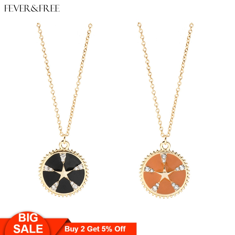Fever&Free Big Pinwheel Shaped Jewelry Black And Orange Crystal Necklace Women Fashion Round Long Chain Pendant Choker Necklaces