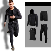 Men Sportswear Compression Sport Suits Quick Dry Running Sets Clothes Sports Joggers Training Gym Fitness Tracksuits Running Set(China)