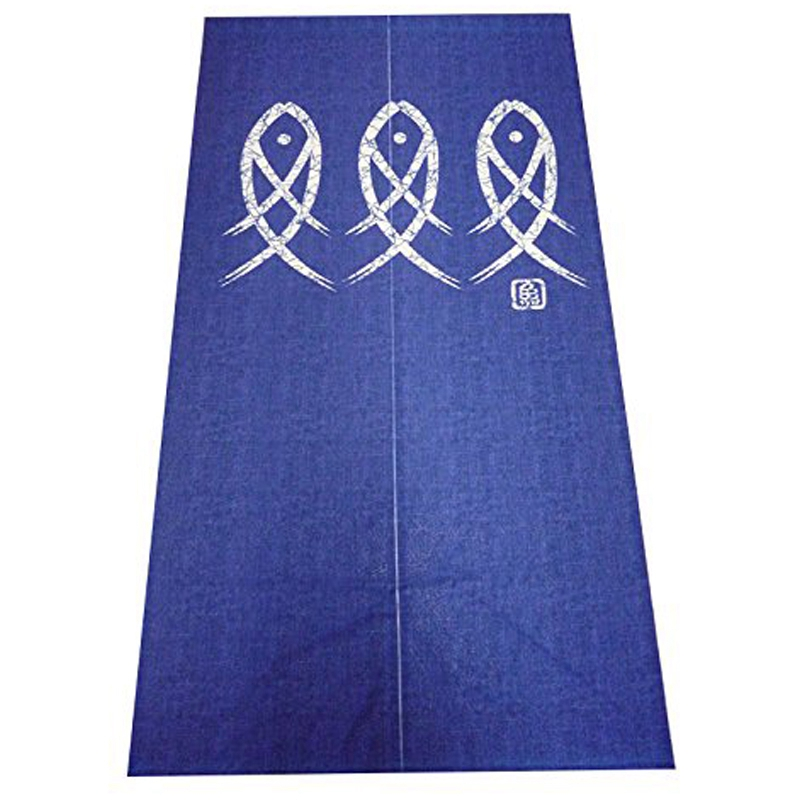 TOP Japanese Noren Doorway Curtain Ancient Character Fish Tapestry For Home Decoration Blue 33X59Inch