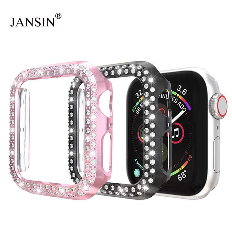 Diamond Protector Case For Apple Watch 38mm 42mm Series 1 2 Double Row Diamonds PC Watch Case For apple watch 5 40mm 44mm Cover