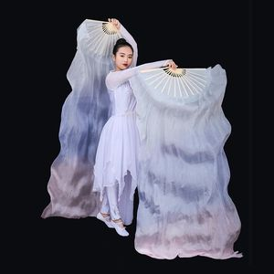 Image 4 - New Arrivals Women Belly Dance Fan Veil Hand Made White Navy Blue Gradient Silk Veil Pairs 180x90cm Girls Women Stage Show Props