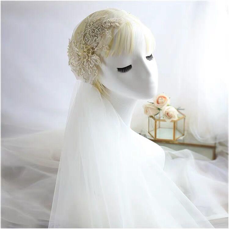 Mori-Style Super Fairy Lace Headdress Beautiful White Gauze Mesh Bridal Wedding Veil Hair Accessories