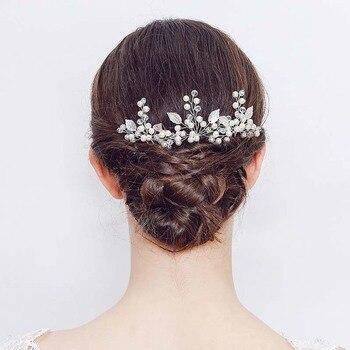 Ensemble de 2 épingles à cheveux de mariée feuilles perles