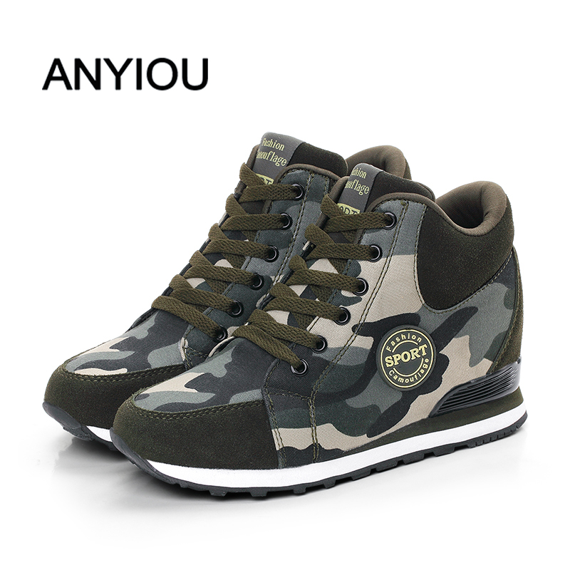 ANYIOU Female Flat Shoes Lace Up Camouflage 2020 Spring Female Platform PU Flats Fashion Ladies Walking Vulcanized Shoes 34-42