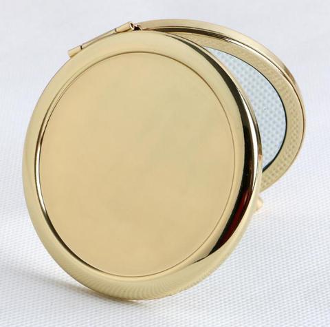 rodada espelho compacto em branco plain cor