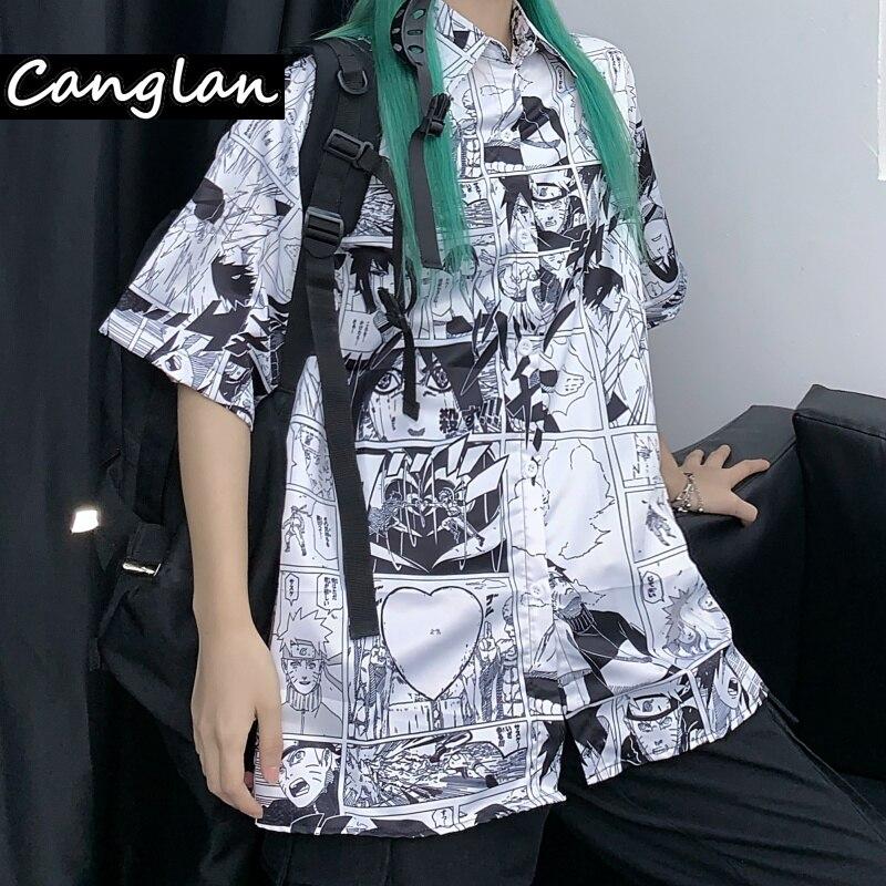 Anime Manga Print Summer Women Girl Button Up Shirt Short Sleeve Harajuku Streetwear Clothes Blouse Graphic Cardigan Clothing