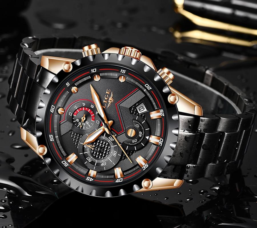 Image 4 - LIGE Watch Men Top Brand Luxury Mens Watches Sports Stainless Steel Waterproof Chronograph Quartz Wrist watch Relogio Masculino-in Quartz Watches from Watches