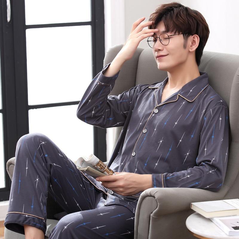 WAVMIT 2020 New Style Men's Pajamas Set Spring Autumn Cotton Male Pajamas Sets Long Sleeve Sleepwear Top +Pant Leisure Outwear