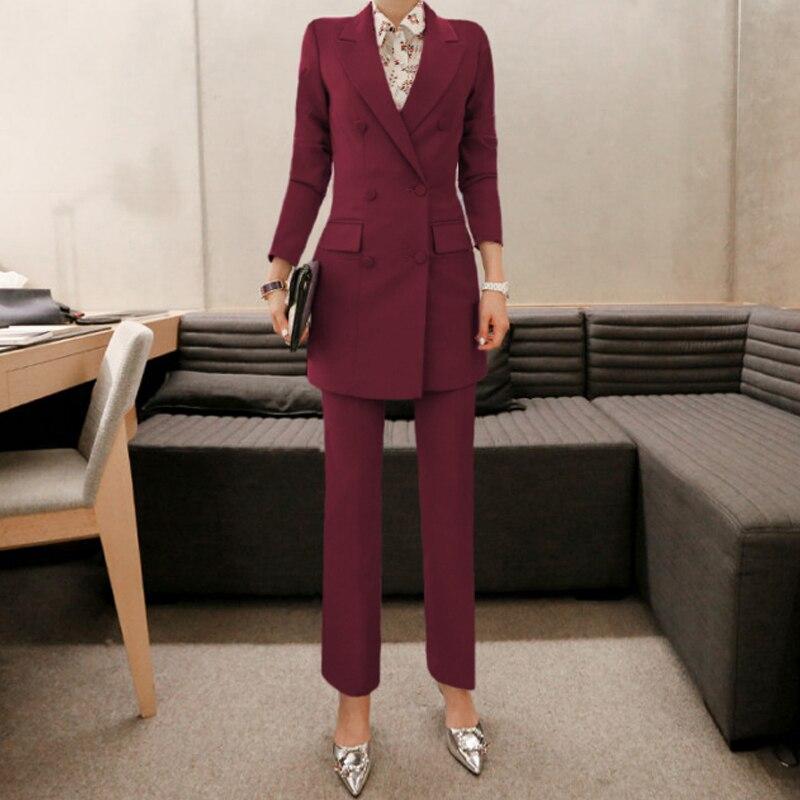 Mulheres OL Moda Roxo Mulheres Pant Terno Double Breasted Casaco Longo Blazer e Calça Reta Trabalho Negócio Senhoras 2 Peças conjunto - 4