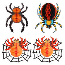 4 Stuks Halloween Spider Gordijnen Spider Ornament Spider Honeycomb Ballen Opknoping Spider Lantaarns Opknoping Decors Voor Home Office Par(China)