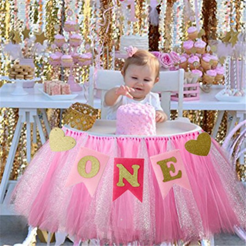 Baby First Birthday Photography Accessories Blue Pink Gold Chair Banner ONE Year 1st Birthday Party Decoration Bunting Supplies