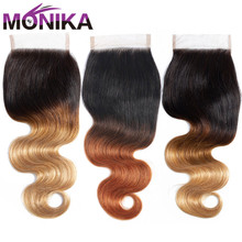 Monika 4x4 Lace Closure Human Hair Brazilian Body Wave Closure T1B #4#27#30 Ombre Blonde Color Dark Root Closures Non Remy Hair