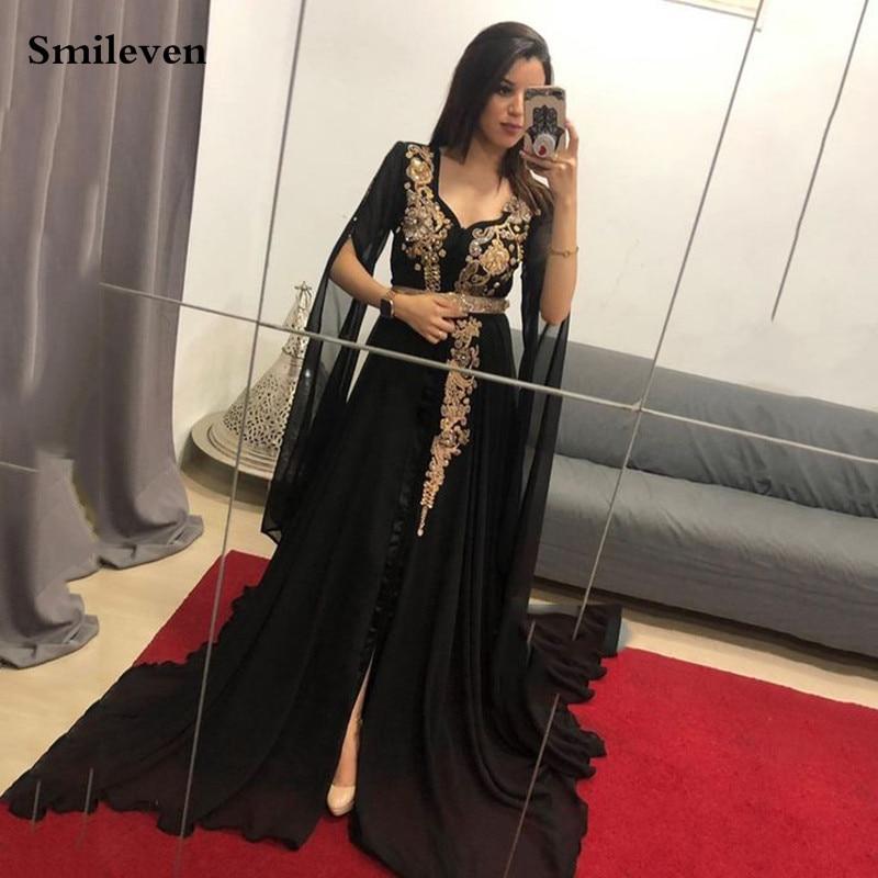 Fortune Smileven Spllit Chiffon Moroccan Kaftan Flare Sleeve Formal Evening Dress Lace Muslim Dubai Special Occasion Dress Customize