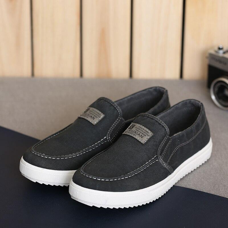 Мужская парусиновая обувь; сезон весна осень; дышащая обувь без шнуровки в стиле ретро; модная повседневная обувь для учащихся; цвет черный, белый, красный; S1251 1275; C1 - 3