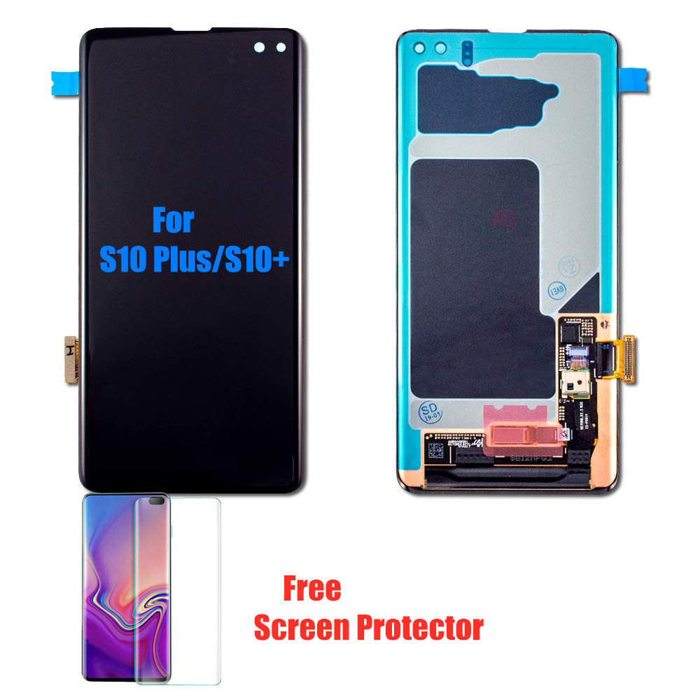 Original Amoled S10Plus LCD With Frame For SAMSUNG Galaxy S10+ Plus G9750 Display Touch Screen Digitizer Assembly+Small Spot