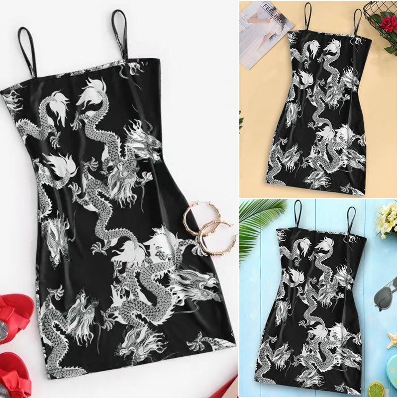 2020 New Summer Women Dragon Pattern Sleeveless Split Hip Slender Slim Fit Sexy Print Dress