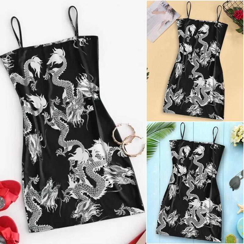 2020 جديد الصيف المرأة التنين نمط أكمام سبليت الورك نحيلة سليم صالح مثير طباعة فستان حفلات نسائية