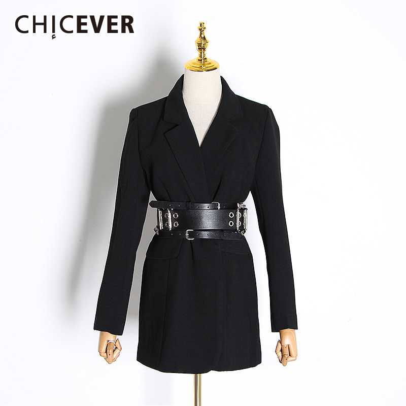 CHICEVER Korean Casual Slim Women's Blazers Notched Collar Long Sleeve High Waist Tunic Suit For Female Fashion 2020 Clothes New
