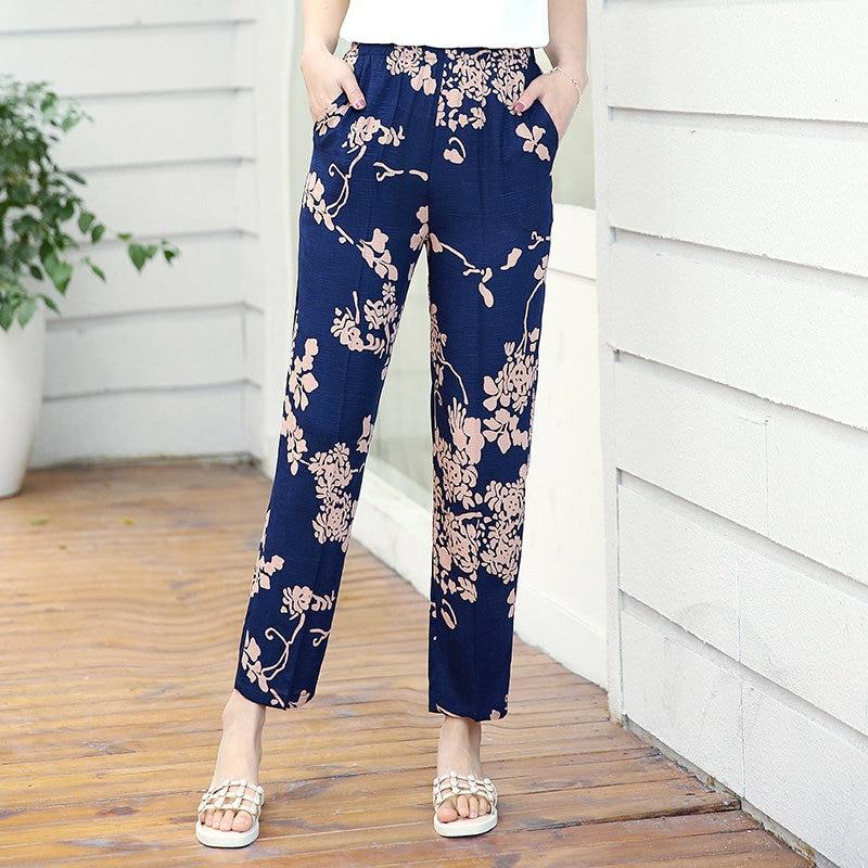 22 Colors 2020 Women Summer Casual Pencil Pants XL-5XL Plus Size High Waist Pants Printed Elastic Waist Middle Aged Women Pants 28