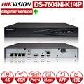 Hikvision оригинальный DS-7604NI-K1/4 P 4CH POE встроенный штекер Play 4K PoE NVR для ip-камеры CCTV системы обновляемый HDD выбор.