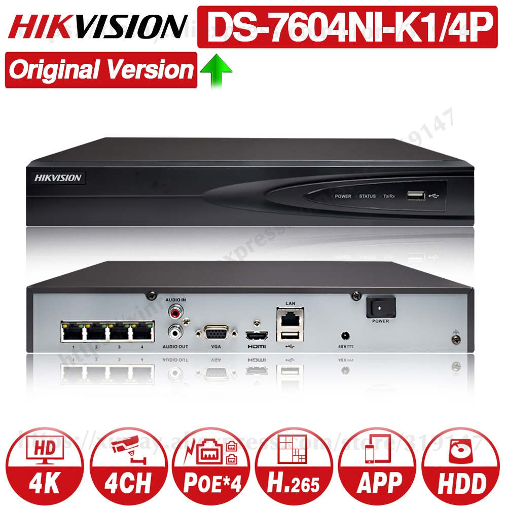 Hikvision Original DS-7604NI-K1/4P 4CH POE Embedded Plug Play 4K PoE NVR For IP Camera CCTV System Upgradable HDD Selectable.