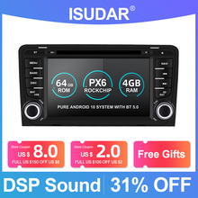 Isudar PX6 2 Din Android 10 Car Multimedia Player GPS DVD For Audi A3 8P/A3 8P1 3 door Hatchback/S3 8P/RS3 Sportback Auto Radio