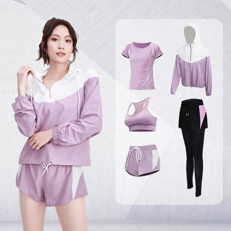 Women Tracksuit 5Pcs Sport Suit Hooded Loose Sportwear Yoga Set Fitness Gym Running Jogging Workout Clothes XL Sport Wear Female