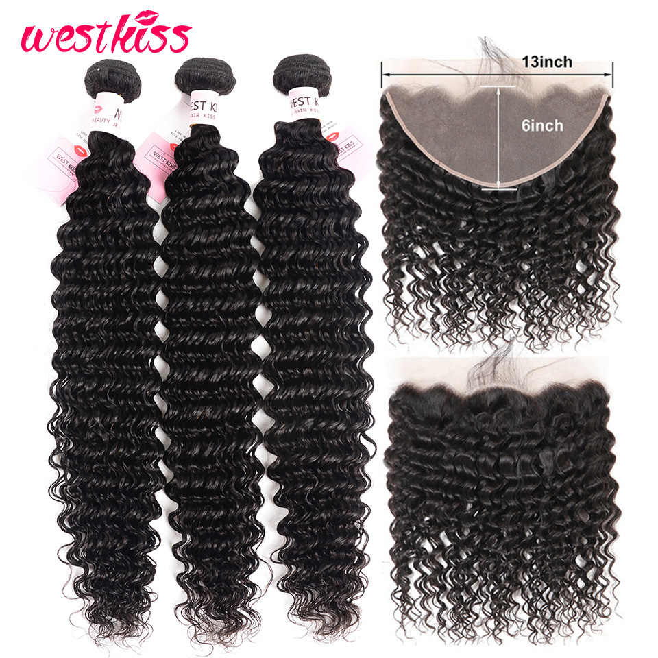Deep Wave Brazilian Hair Bundles With Frontal Pre Plucked 13x6 Remy Human Hair 3 Bundles With Frontal Swiss Lace West Kiss Hair