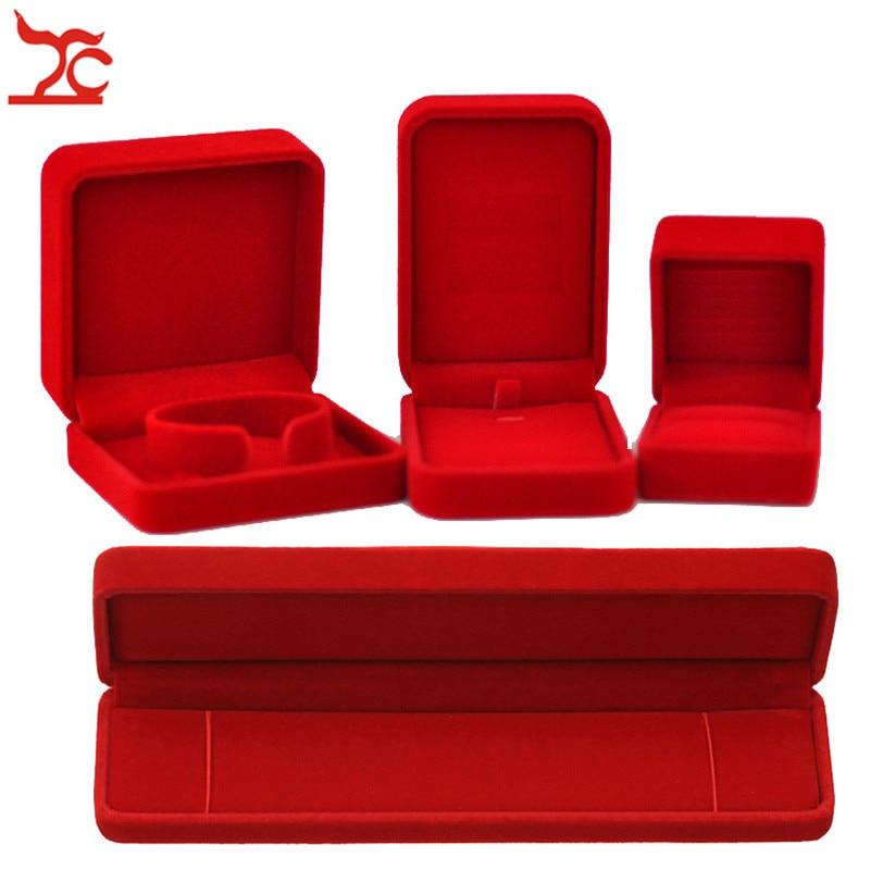 Quality Wedding Jewelry Storage Case Amazing Red Velvet Ring Earrings Necklace Pendant Bracelet Storage Organizer Gift Box