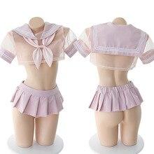 Lencería Sexy japonesa transparente para estudiantes, Cosplay, uniforme escolar de Anime JK, ropa Kawaii, disfraz de Sailor School Girl