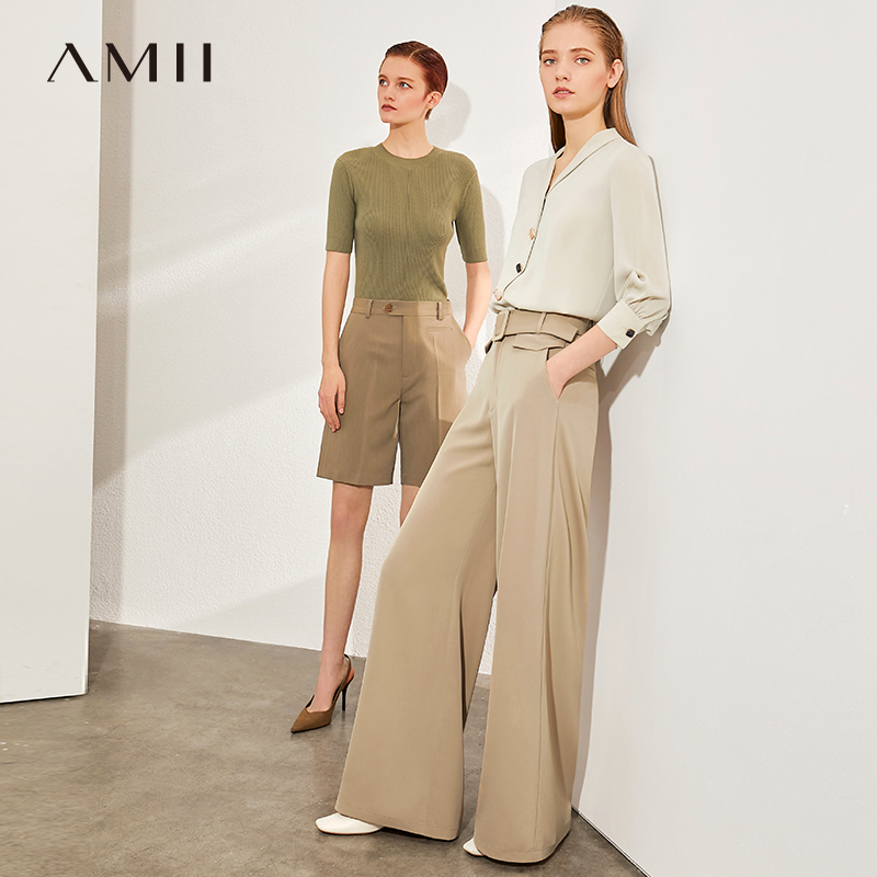 AMII Minimalism Spring Summer Fashiong Solid Loose Women Pants Causal High Waist Belt Female Wide-leg trousers 12040263