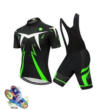 2020 pro team men camisa de ciclismo bib conjunto curto wear 19d almofada gel mtb roupa verão kit ciclismo triathlon 1