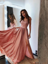 Blush Pink Prom Dresses 2019 A-Line Sweetheart Lace Long Prom Gown Sexy Slit Satin vestido formatura Evening Dress Party(China)