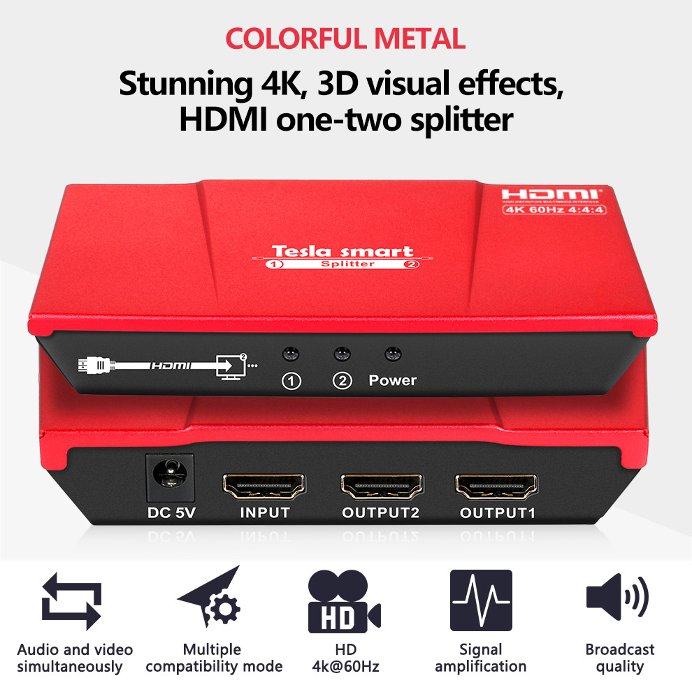 Ultra HD 4K HDMI Splitter 1 In 2 Out  Splitter HDMI 1x2 HDMI Switcher HDCP 2.2 HDR Duplicating Video&Audio