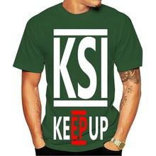 2021 camiseta de algodão masculino de marca t casual hip-hop frente expresso ksi manter-se gráfico crewneckxxxl preto